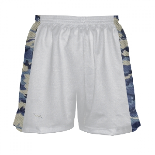 Womens+White+and+Camouflage+Blue+Lax+Shorts
