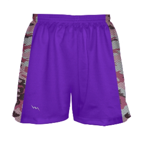 Girls+Lacrosse+Shorts+Purple+with+Pink+Camouflage+Sides