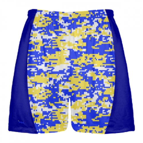 Blue and Yellow Digital Camouflage Lacrosse Shorts | Lacrosse Pinnies