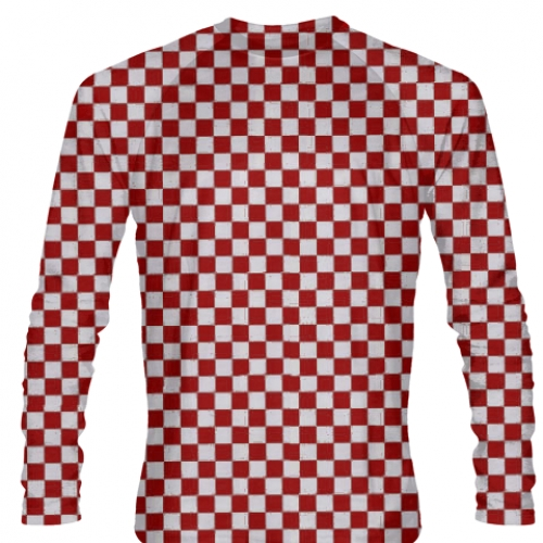 Red+Checker+Long+Sleeve+Soccer+Jerseys