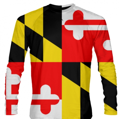 Maryland+Flag+Long+Sleeve+T+Shirts