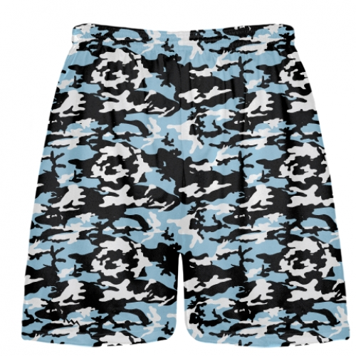 Light+Blue+Black+Camouflage+Lacrosse+Shorts