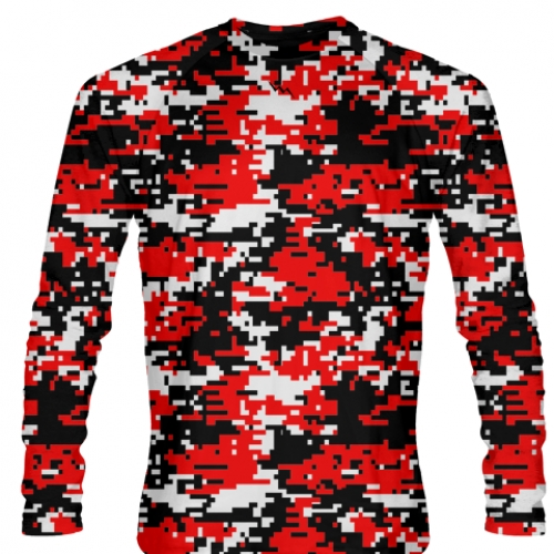 Digital+Camouflage+Long+Sleeve+Shirts+Red+Black