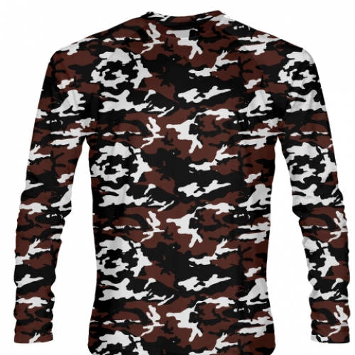 Maroon+Black+Long+Sleeve+Camouflage+Shirts