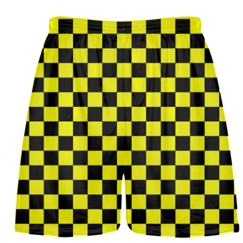 Checkered+Shorts+Black+and+Yellow