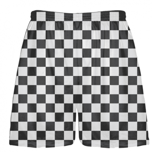 Checker+Board+Lacrosse+Shorts+Charcoal+and+White