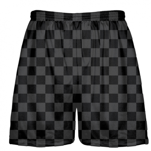Checker+Board+Lacrosse+Shorts+Charcoal+Black