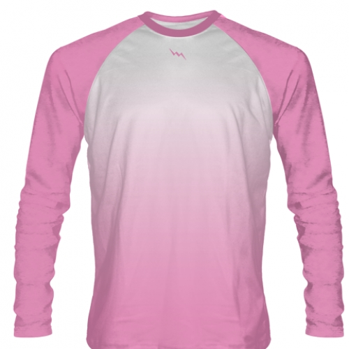 Light+Pink+Long+Sleeve+Football+Shirts