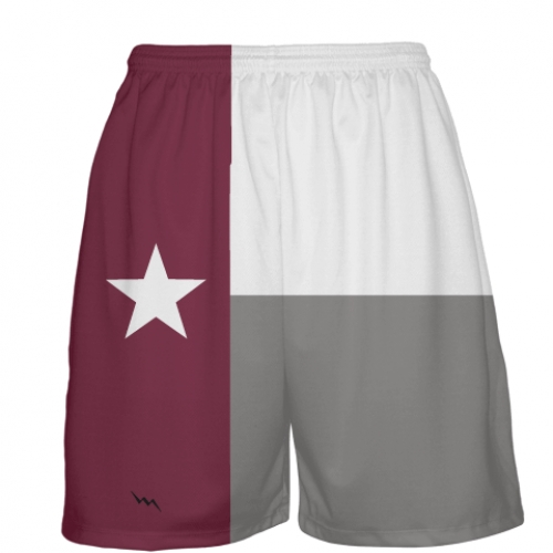 Maroon+Texas+Flag+Basketball+Short