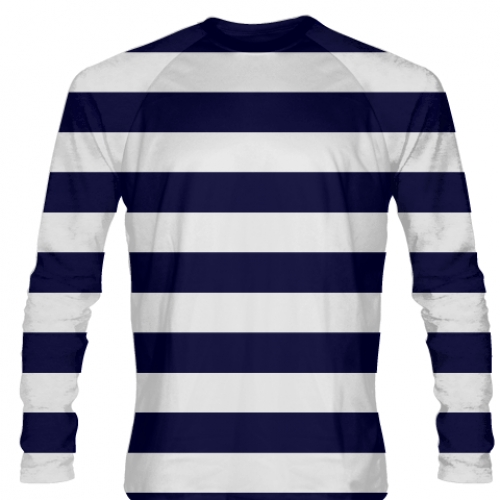 Navy+Blue+White+Striped+Long+Sleeve+Shirt