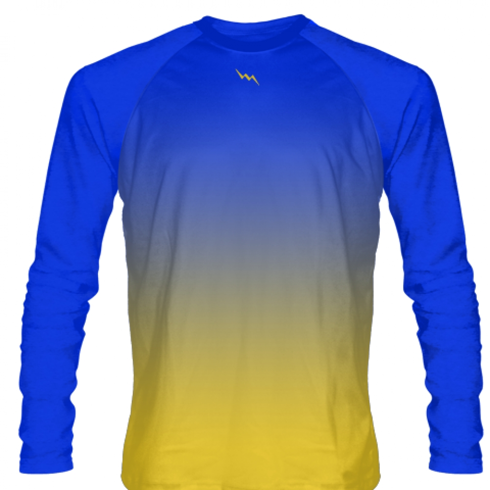 Blue+Gold+Long+Sleeve+Basketball+Shooting+Shirt