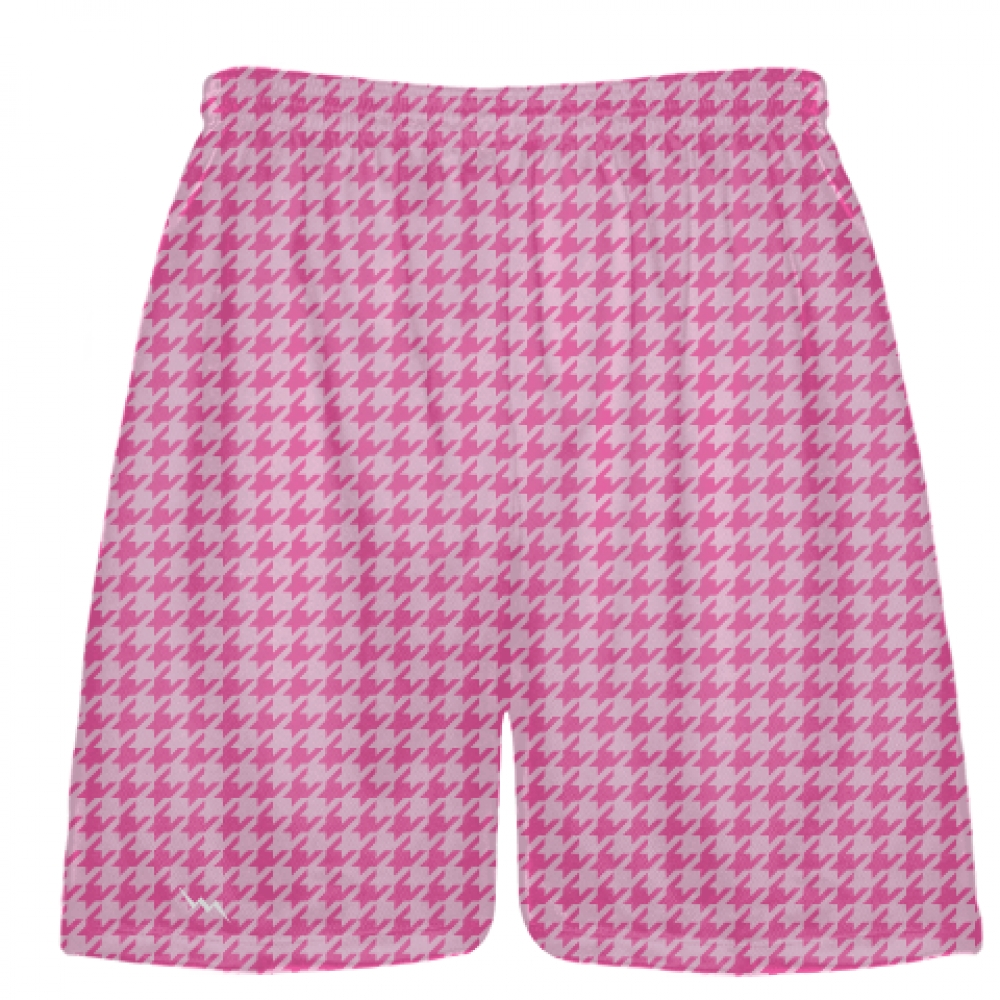 Hot+Pink+Light+Pink+Houndstooth+Shorts+-+Sublimated+Shorts
