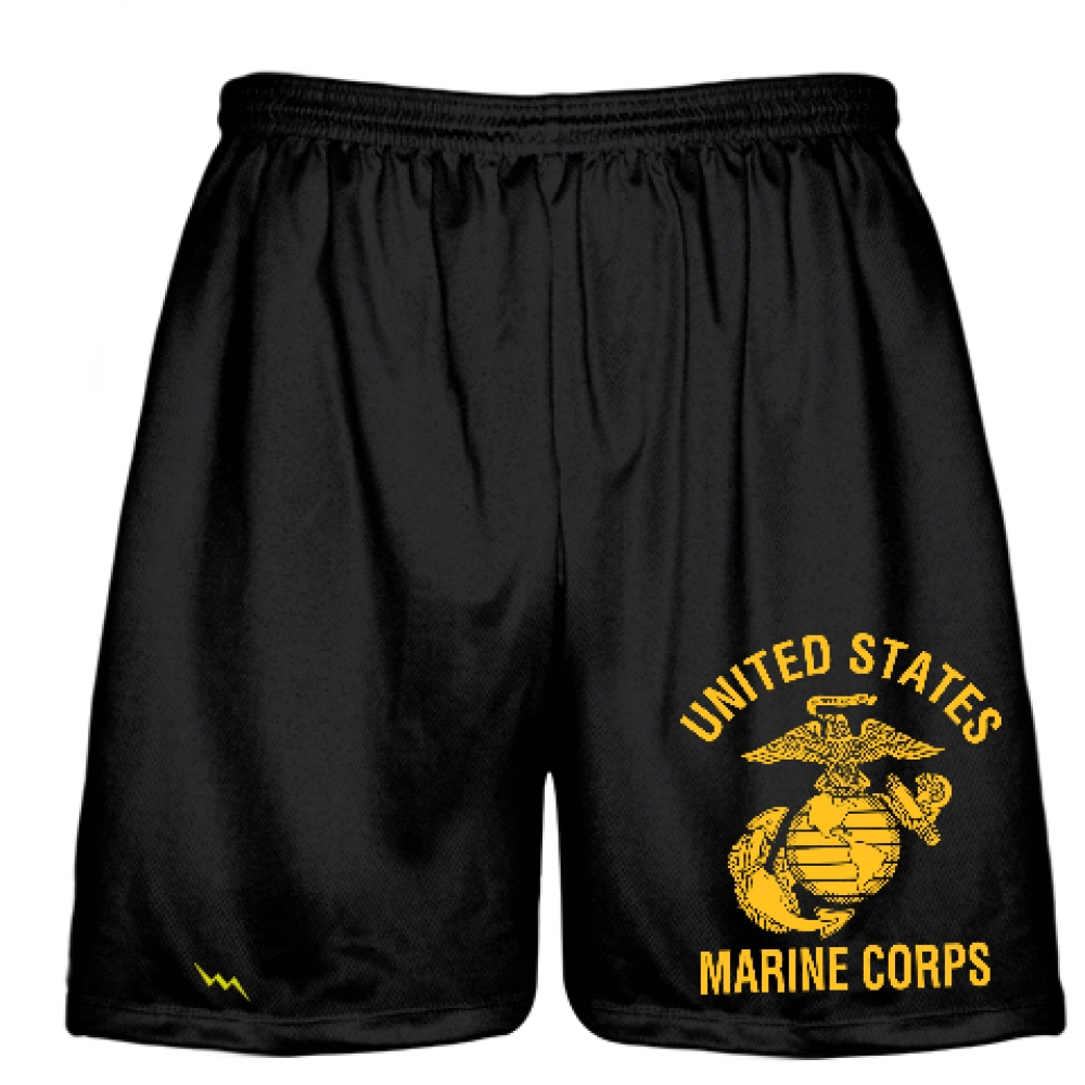 Marine+Corps+Shorts+Gold+Logo+-+Black+Marine+Shorts+Sublimated