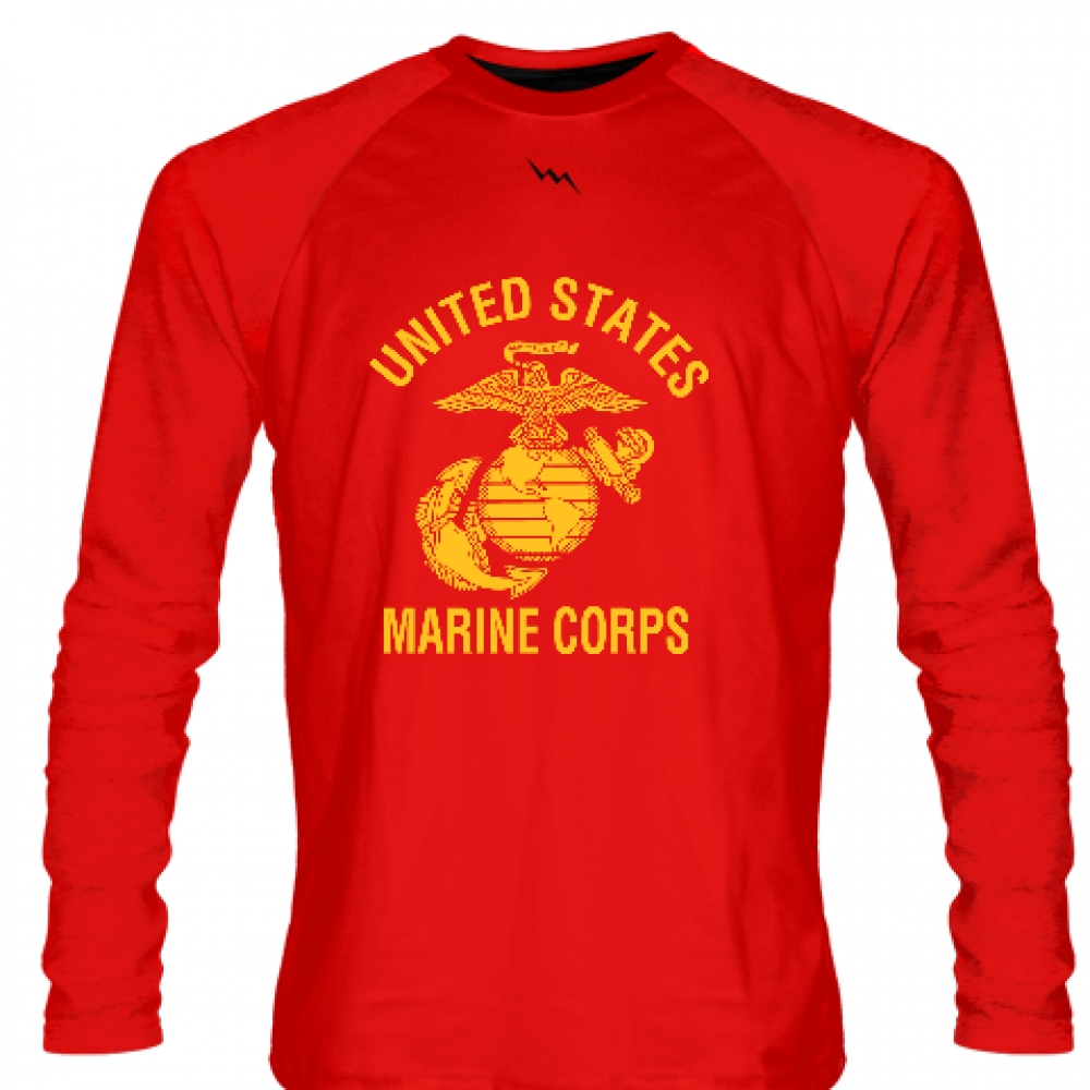 Red+Marine+Corps+Long+Sleeve+Shirts+Gold+Logo+-+Marine+Shirts