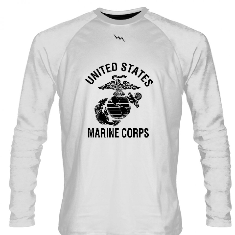 White+Marine+Corps+Long+Sleeve+Shirts+White+Logo+-+Marine+Shirts