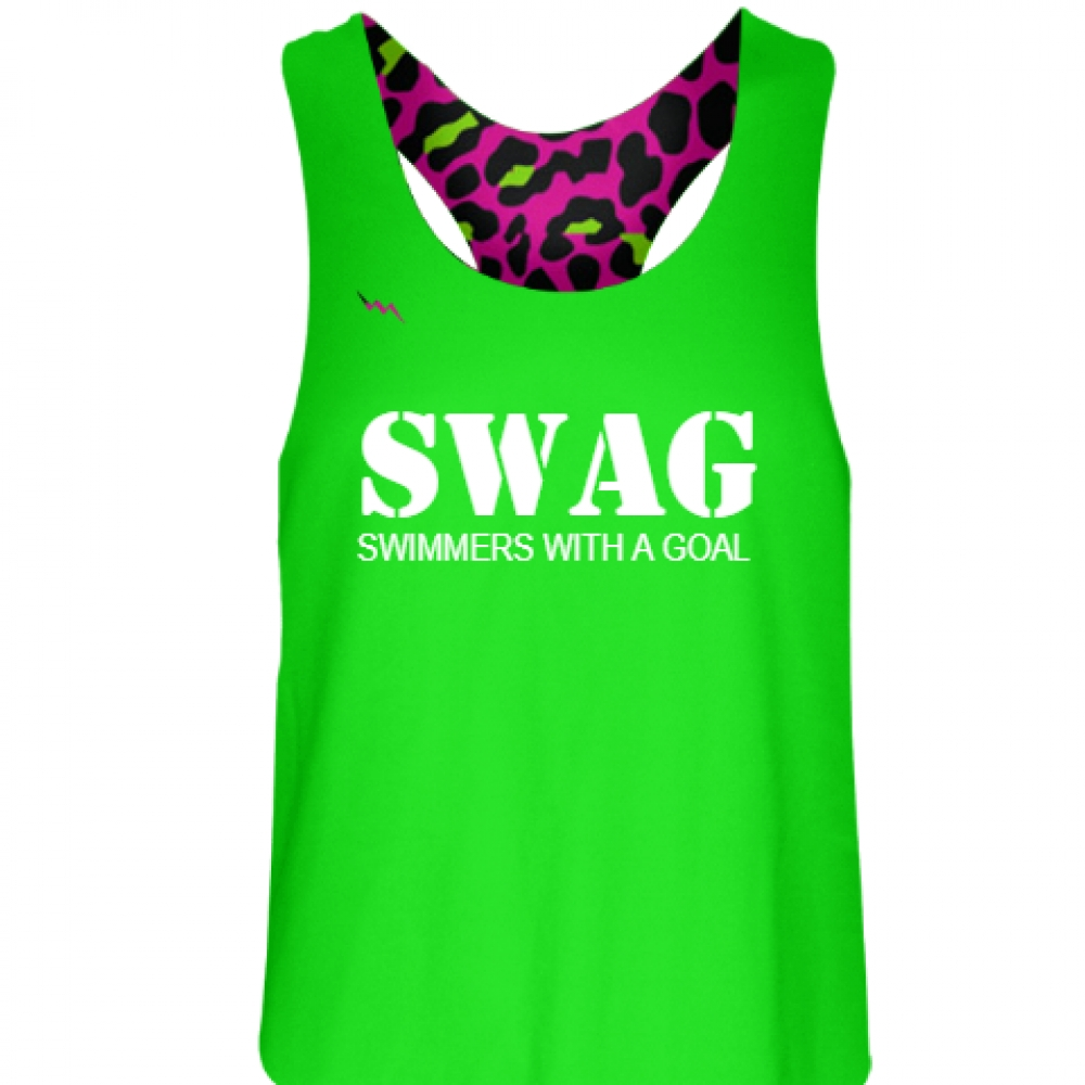 Neon+Green+Swimmers+With+a+Goal+Pinnie+-+Girls+Pinnies