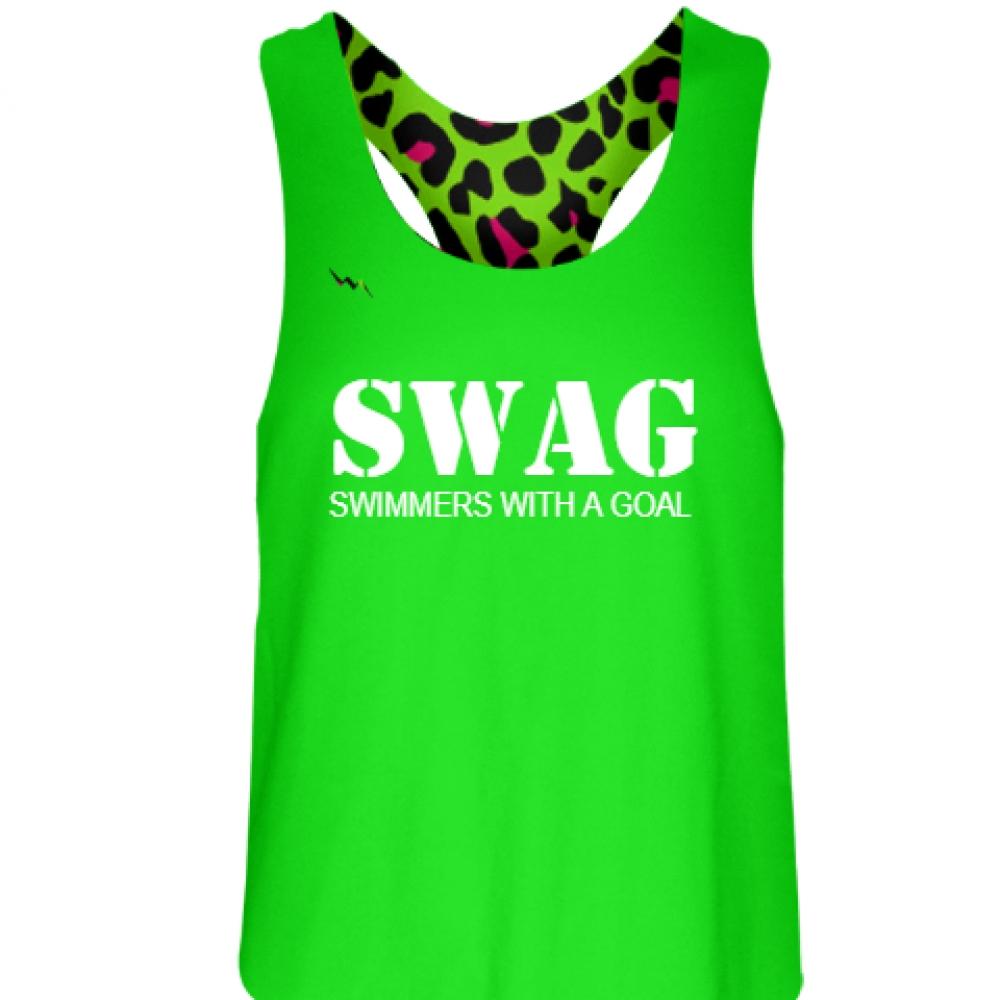 Neon+Green+Cheetah+Swimmers+With+a+Goal+Pinnie+-+Girls+Pinnies