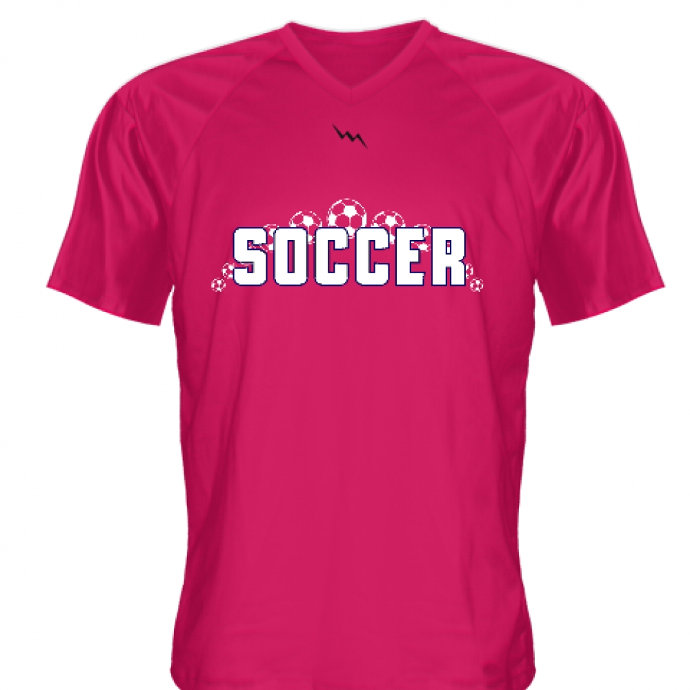 Hot+Pink+Soccer+Jerseys+V+Neck
