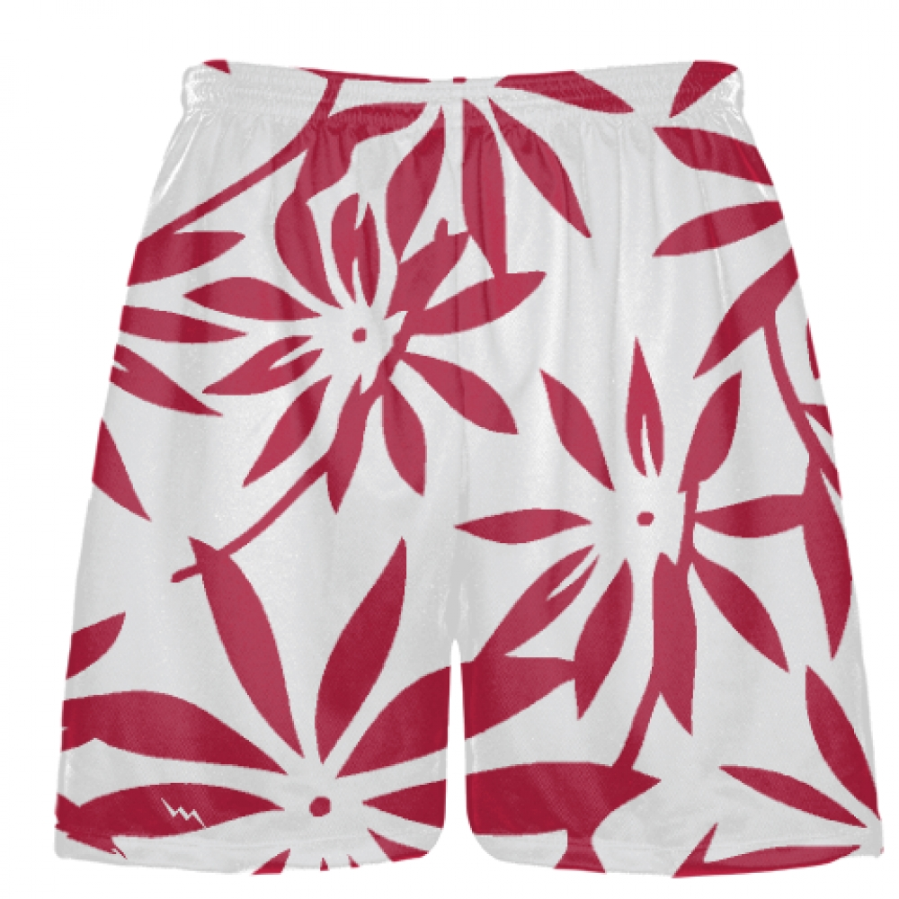 Maroon+Hawaiian+Lacrosse+Shorts+-++Hawaiian+Basketball+Shorts