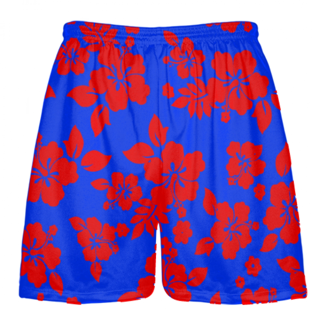 Red+Royal+Blue+Hawaiian+Shorts+Black+Accent