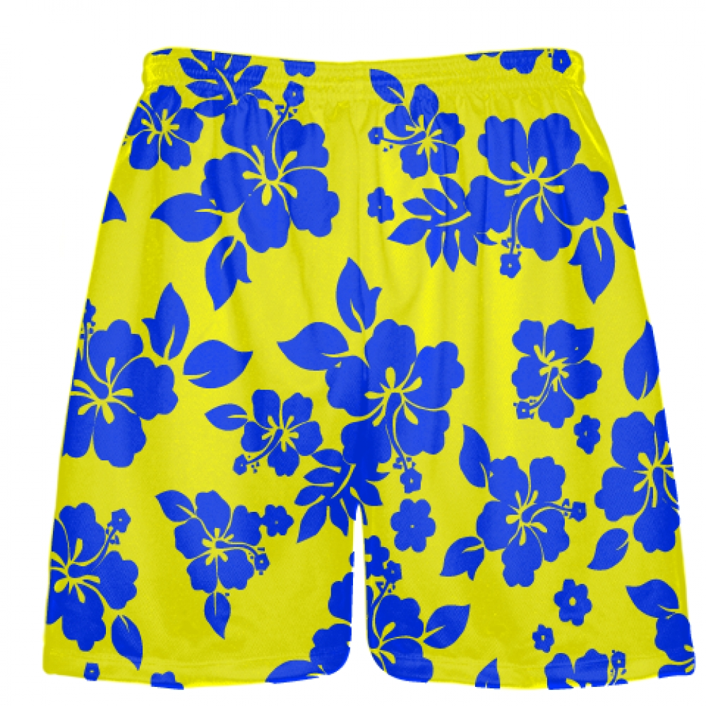 Yellow+Blue+Hawaiian+Shorts+Accent