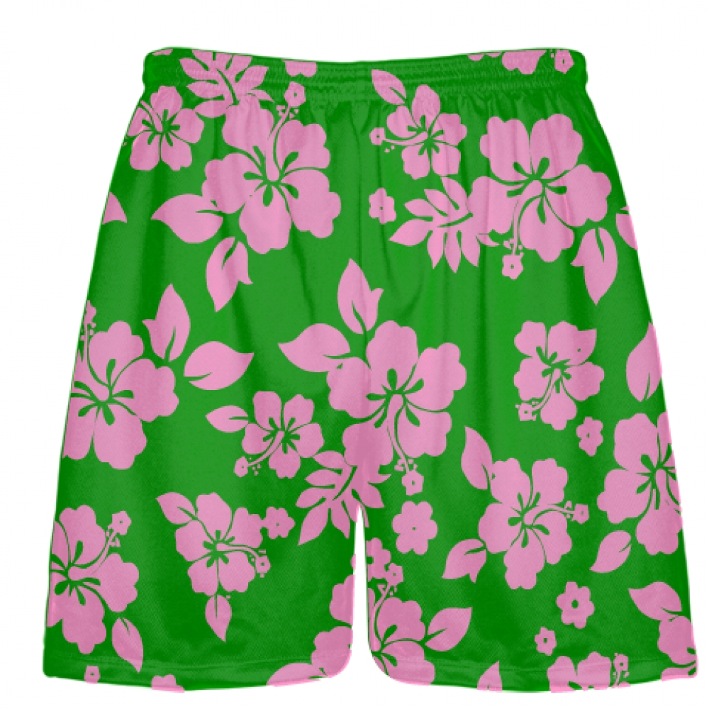 Green+Pink+Hawaiian+Lacrosse+Shorts
