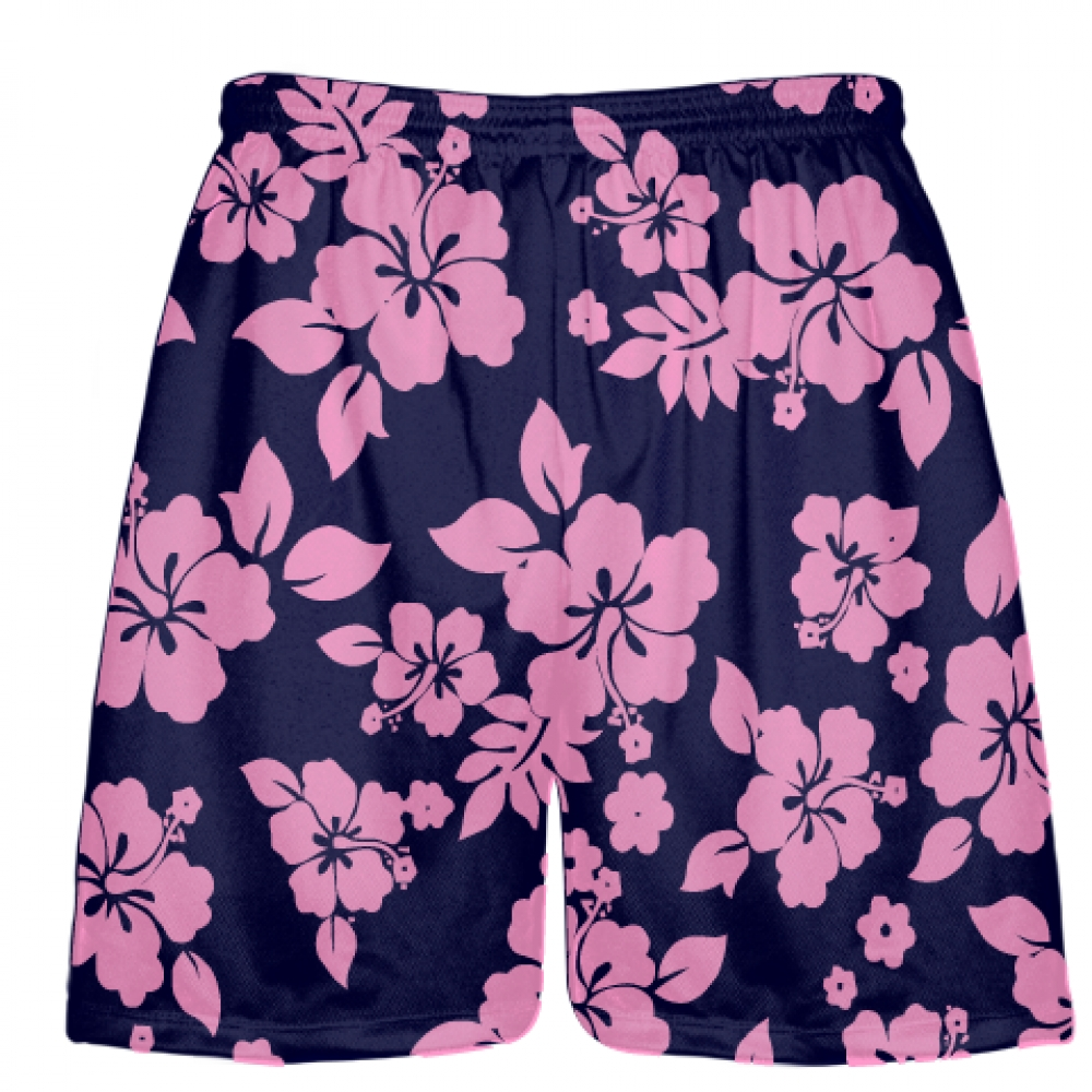 Navy+Blue+Pink+Hawaiian+Lacrosse+Shorts
