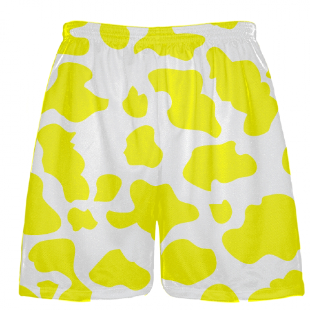 White+Yellow+Cow+Print+Shorts