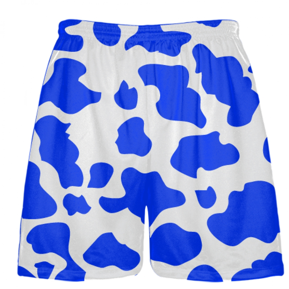 White+Royal+Blue+Cow+Print+Shorts