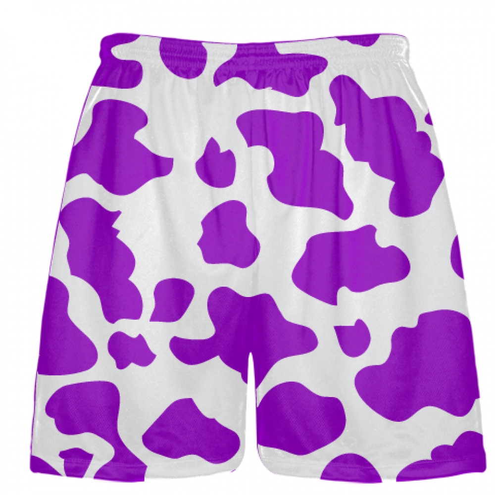 White+Purple+Cow+Print+Shorts