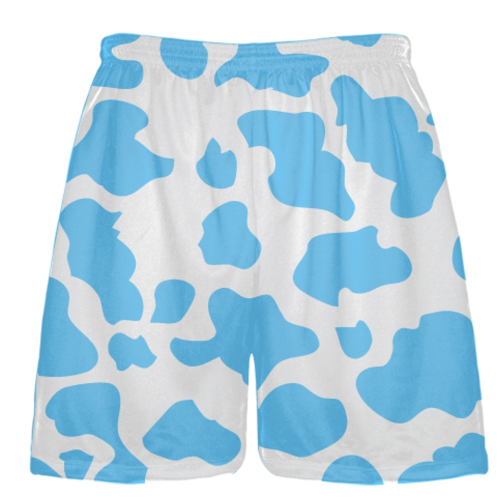 White+Powder+Blue+Cow+Print+Shorts