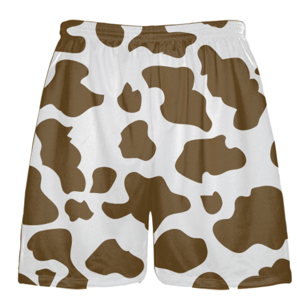 White+Brown+Cow+Print+Shorts