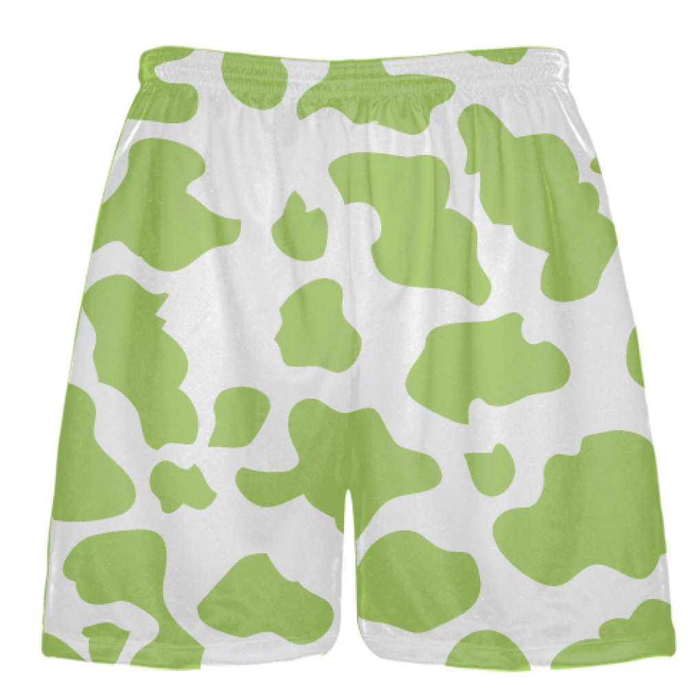 White+Lime+Green+Cow+Print+Shorts+-+Cow+Shorts