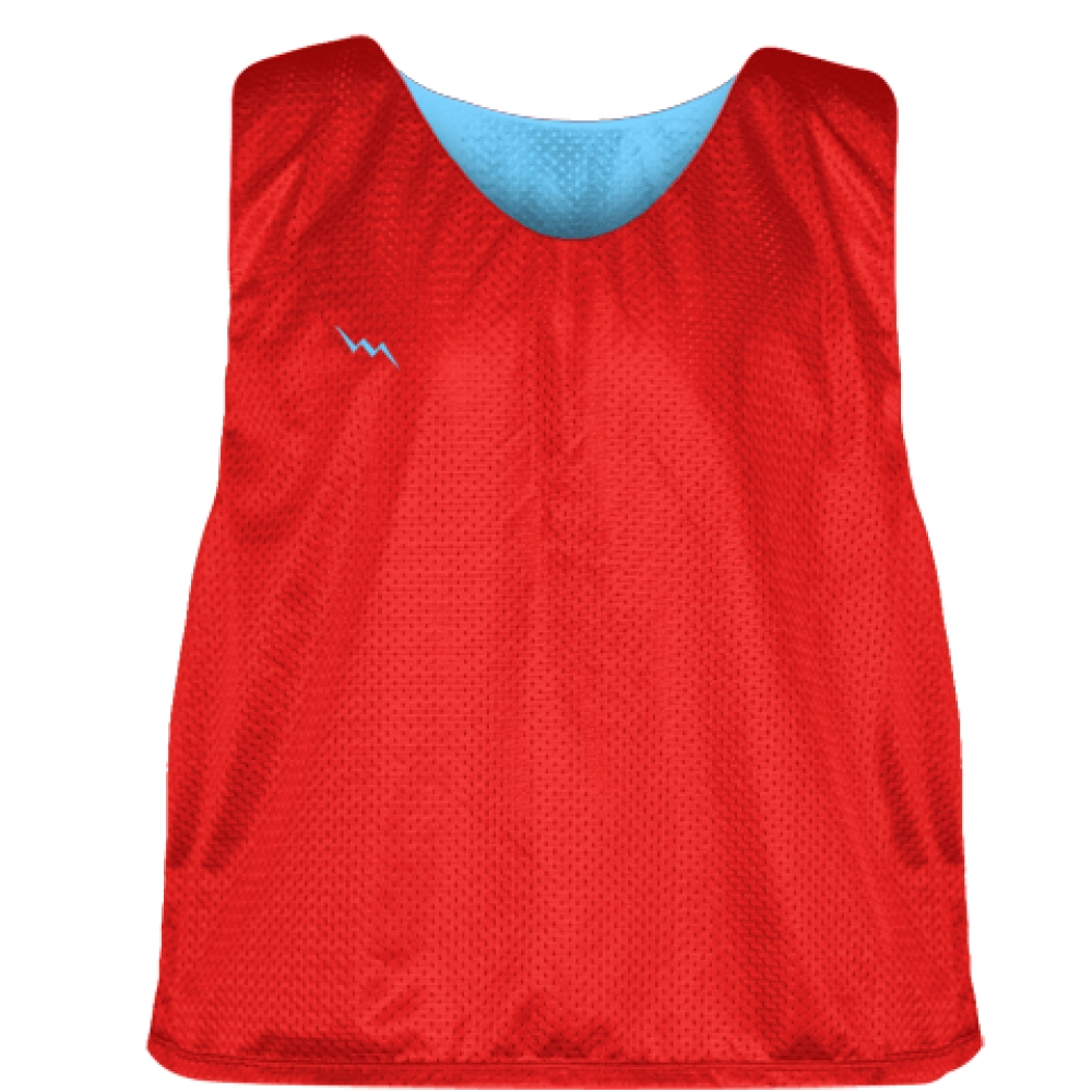 Lacrosse+Pinnies+Red+Light+Powder+Blue+-+Youth+Lacrosse+Reversible+Jersey