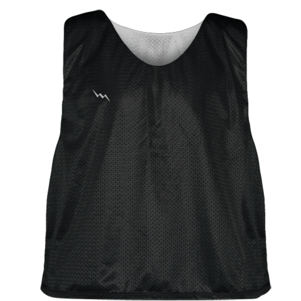 Lacrosse+Pinnie+Black+Silver+-+Youth+Adult+Mesh+Reversible+Jerseys