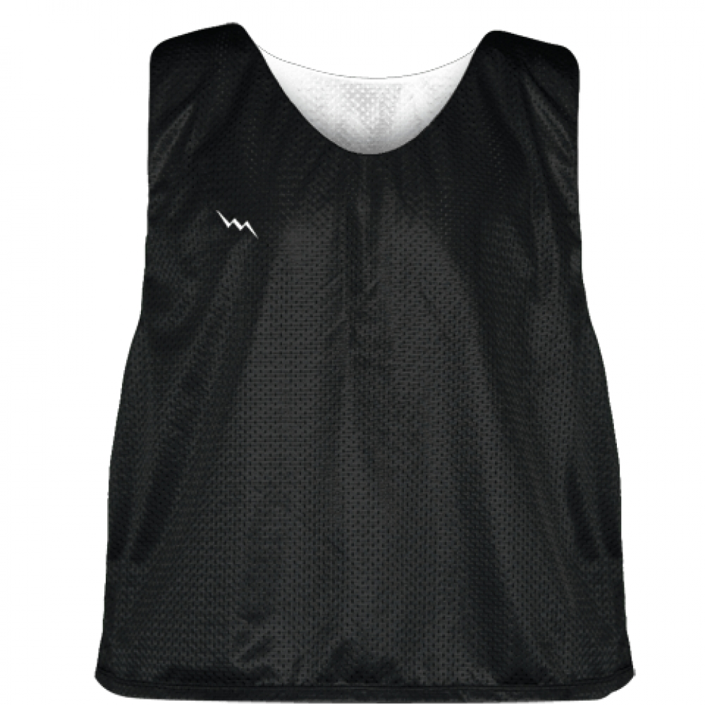 Lacrosse+Pinnie+Black+White+-+Youth+Adult+Mesh+Reversible+Jerseys