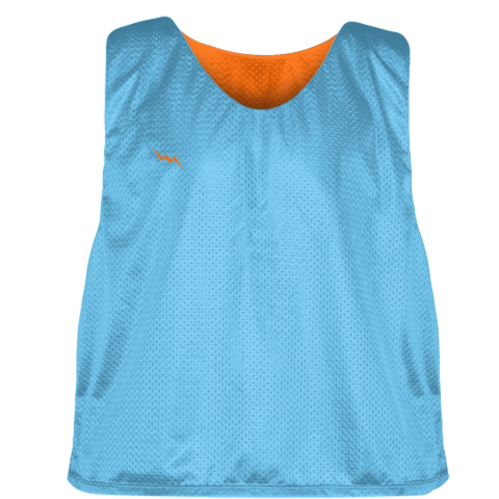 Pinnies+-+Lacrosse+Pinnie+Powder+Blue+Orange+-+Youth+Adult+Mesh+Jerseys