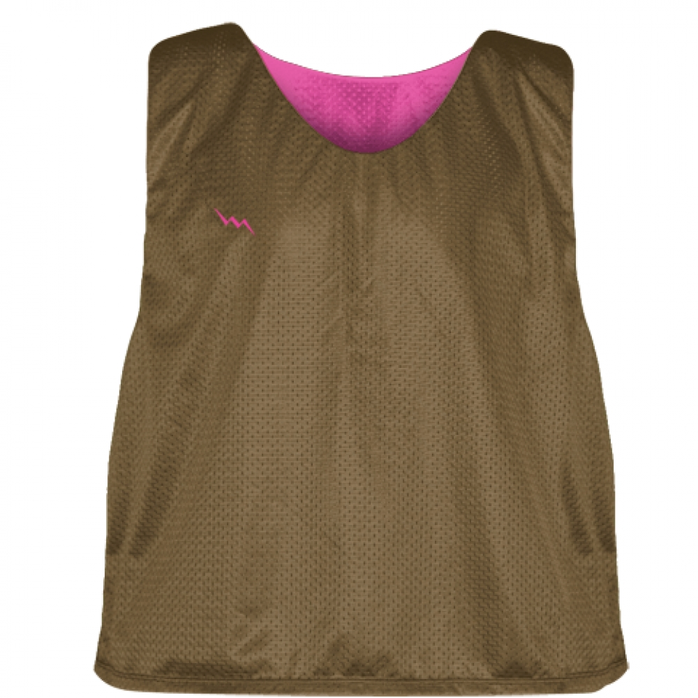 Pinnies+-+Lacrosse+Pinnies+Brown+Hot+Pink+-+Mens+Kids+Mesh+Jerseys