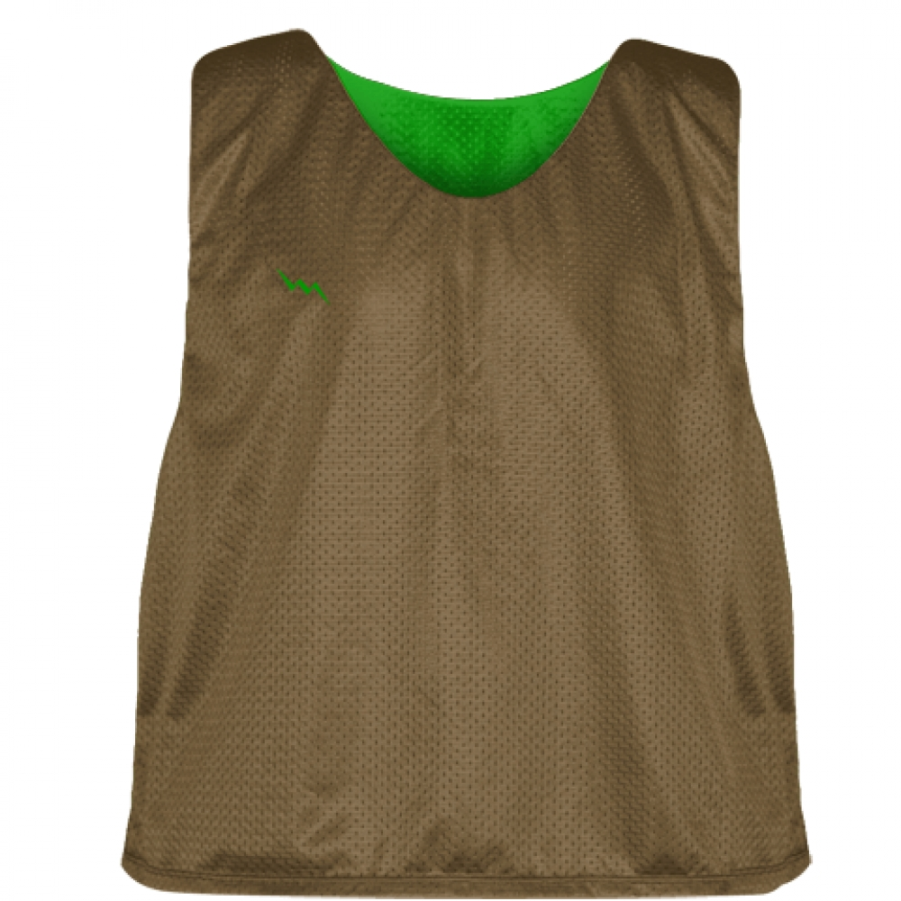 Pinnies+-+Lacrosse+Pinnie+Brown+Kelly+Green+-+Youth+Adult+Reversible+Mesh+Jerseys