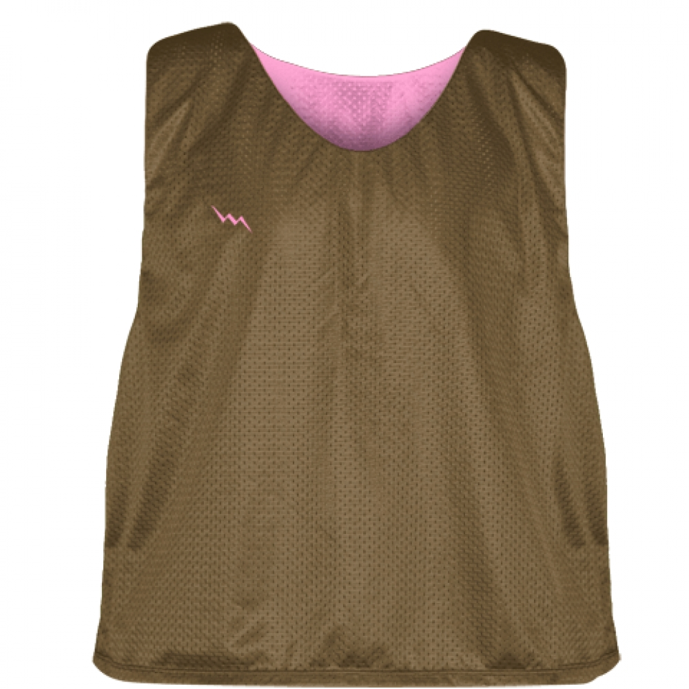 Pinnies+-+Lacrosse+Pinnie+Brown+Pink+-+Youth+Adult+Reversible+Mesh+Jerseys
