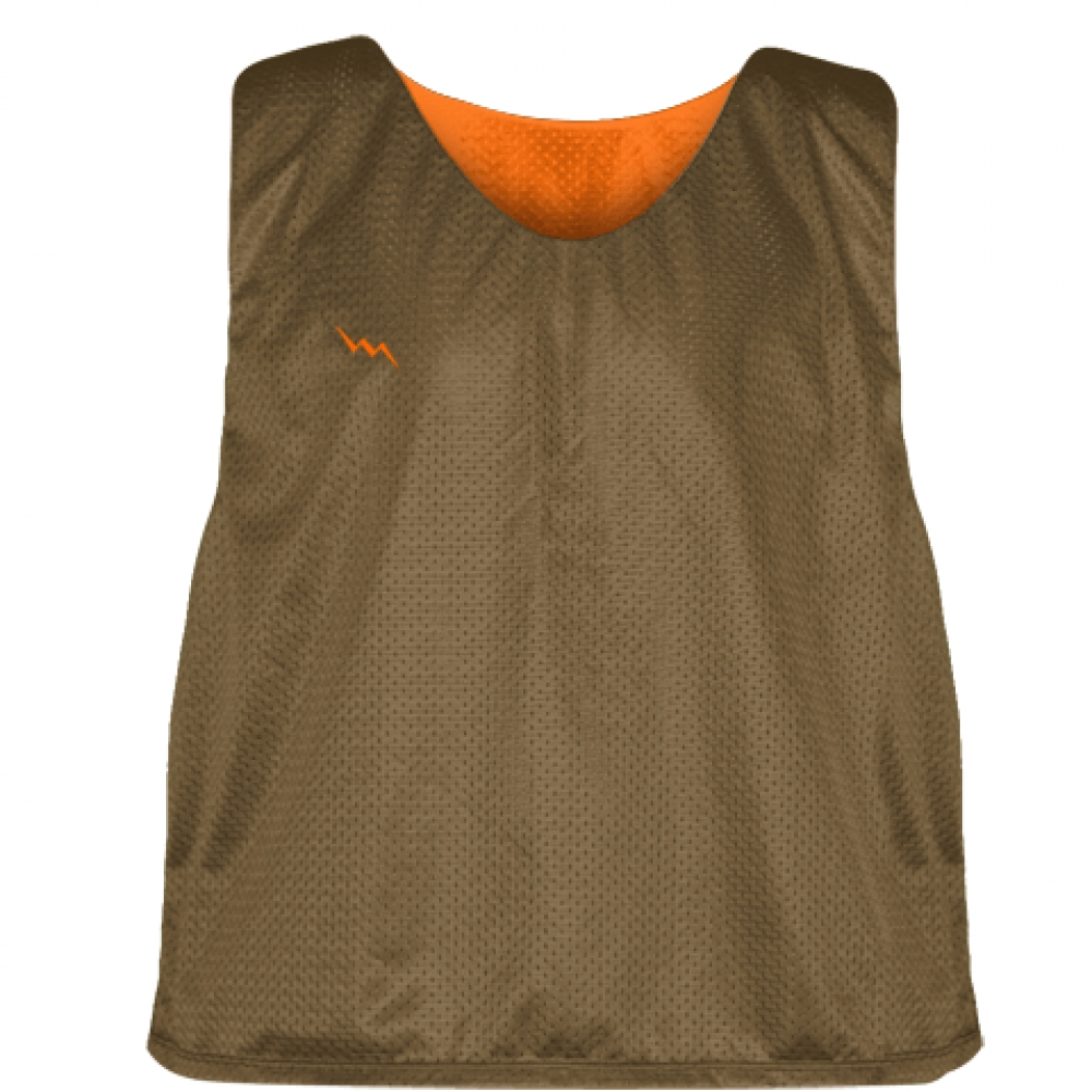 Lacrosse+Pinnie+Brown+Orange+-+Youth+Adult+Reversible+Mesh+Jerseys