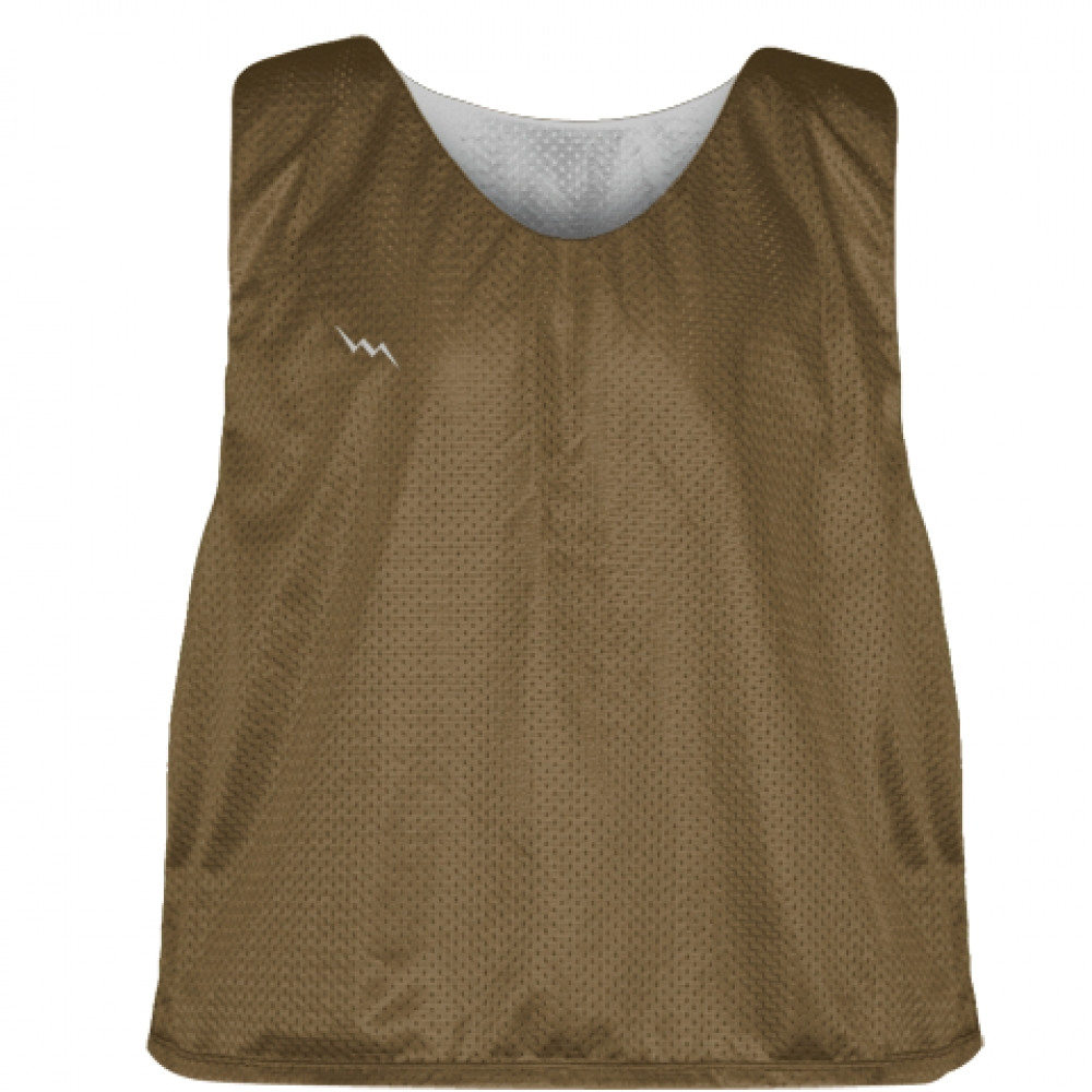 Lacrosse+Pinnie+Brown+Silver+-+Youth+Adult+Reversible+Mesh+Jerseys