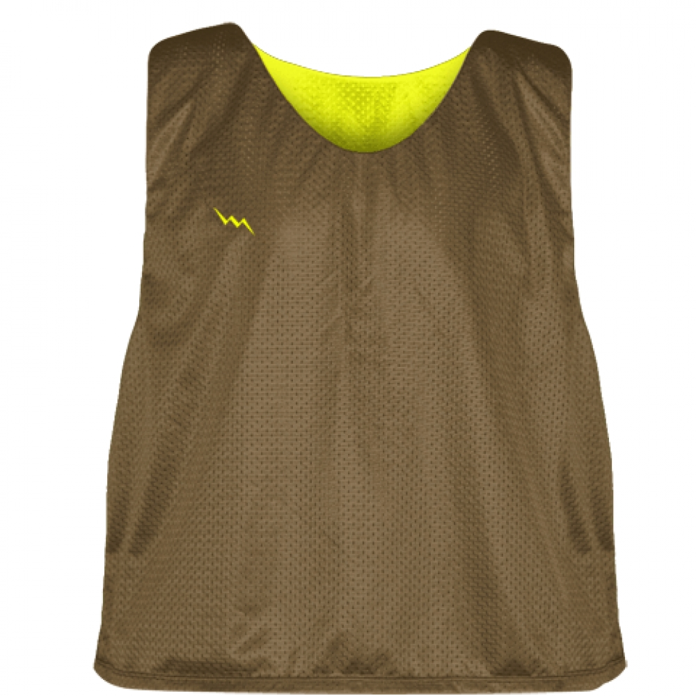 Lax+Pinnie+Brown+Yellow+-+Mens+Boys+Lacrosse+Practice+Jerseys