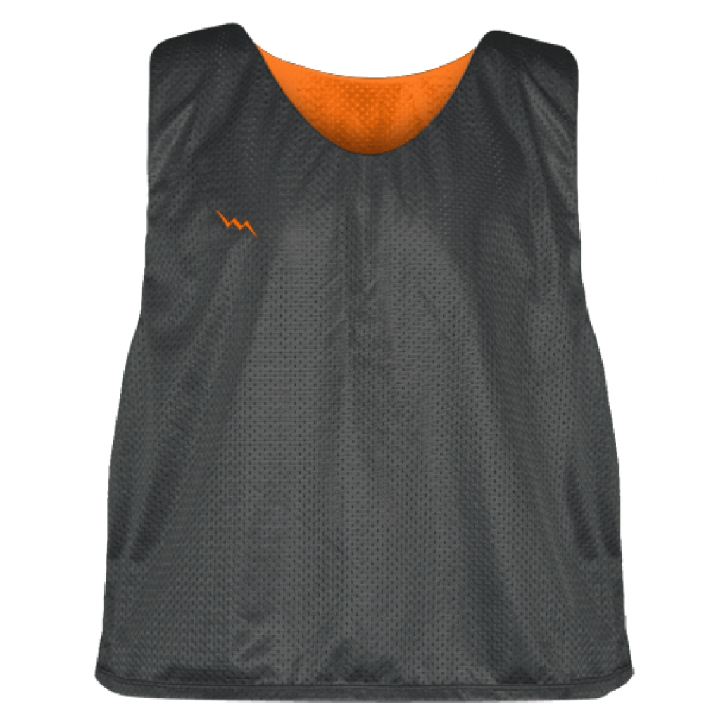 Charcoal+Gray+Orange+Lacrosse+Pinnies+-+Lax+Pinnies