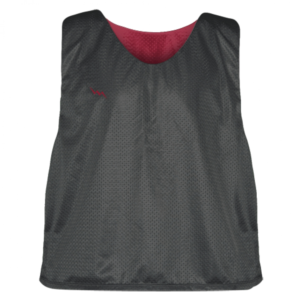 Charcoal+Gray+Cardinal+Red++Reversible+Lacrosse+Pinnies+-+Lax+Pinnies