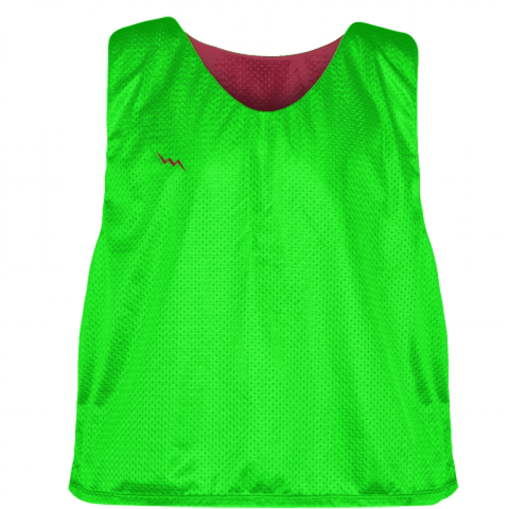 Neon+Green+Cardinal+Red+Reversible+Lacrosse+Pinnies+-+Lax+Pinnies