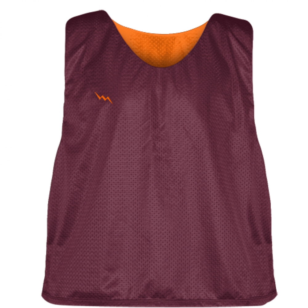 Tech+Maroon+Orange+Mesh+Lacrosse+Pinnies+-+Lacrosse+Reversible+Jerseys