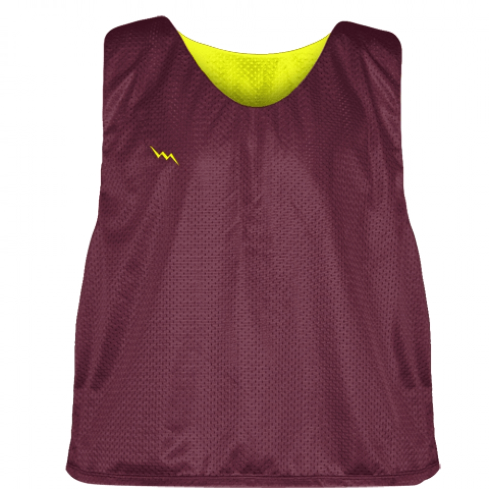 Maroon+Yellow+Mesh+Lacrosse+Pinnies+-+Lacrosse+Reversible+Jerseys