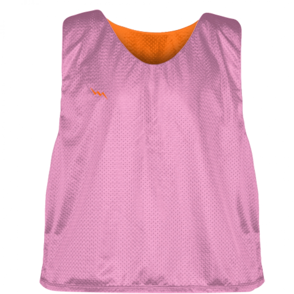 Pink+Orange+Reversible+Pinnies+-+Reversible+Lacrosse+Jerseys