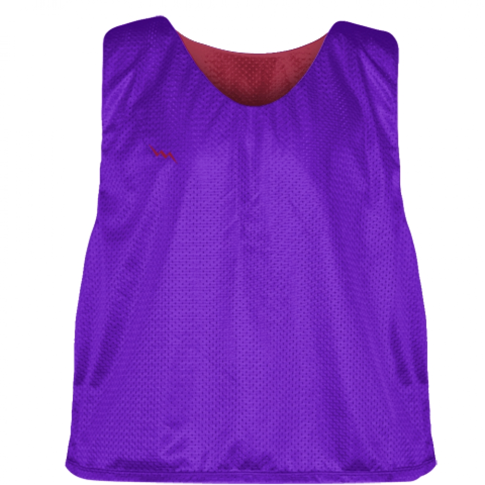 Purple+Cardinal+Red+Lacrosse+Pinnie+-+Reversible+Mesh+Pinnies